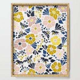 Flower meadow with bees Serving Tray
