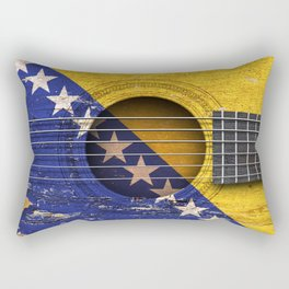Old Vintage Acoustic Guitar with Bosnian Flag Rectangular Pillow