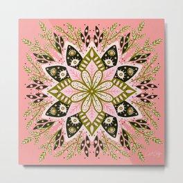 Pepper Mandala – Sage & Pink Metal Print