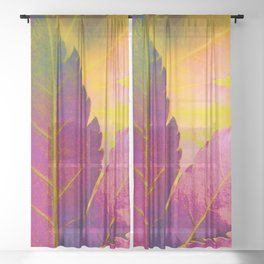 Maple Leaf Abstract Sheer Curtain