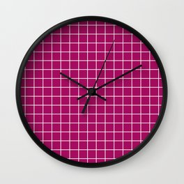 Jazzberry jam - violet color -  White Lines Grid Pattern Wall Clock