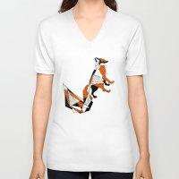 literature V-neck T-shirts featuring literature fox 2 by vasodelirium