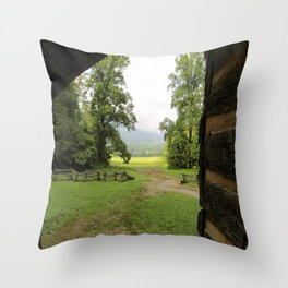 Looking Out from the Cabin Throw Pillow