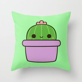 Cute cactus in purple pot Throw Pillow