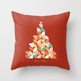 Retro Christmas Tree on Red Throw Pillow