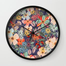 Rustic pattern with many colored flowers. Simple pretty style Wall Clock