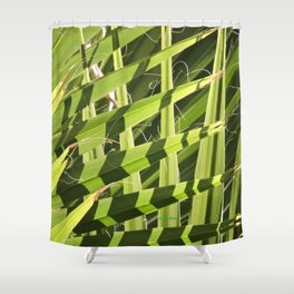 TEXTURES -- Palm Fronds Intersecting Shower Curtain