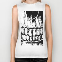 teeth Biker Tanks featuring Teeth by Mike Hague Prints