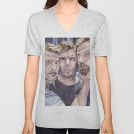 Team Free Will 2.: Misha Collins; Jared Padalecki and Jensen Ackles, watercolor painting Unisex V-Neck
