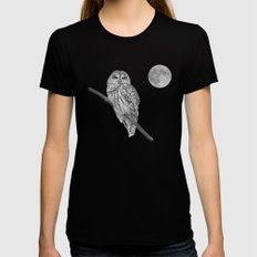 Owl, See the Moon (bw) Black MEDIUM Womens Fitted Tee