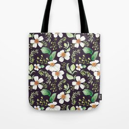 Modern purple green white watercolor daisies floral Tote Bag