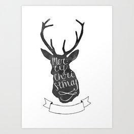 Merry Christmas Deer (3) Art Print