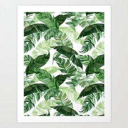 Green leaf watercolor pattern Art Print