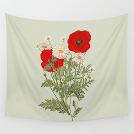 A country garden flower bouquet -poppies and daisies Wall Tapestry