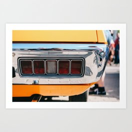 Back light of a yellow car Art Print