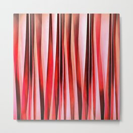 Red Adventure Striped Abstract Pattern Metal Print