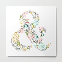 Intricate Floral Ampersand Metal Print