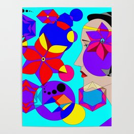 Pinwheels and Shapes Abstract Lady Poster
