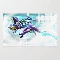evangelion Area & Throw Rugs featuring Evangelion Unit 01 - Shinji Ikari's Ride. The Digital Painting. by Barrett Biggers