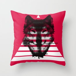 Red wolf white 4 Throw Pillow