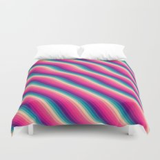 Abstract Color Burn Pattern - Geometric Lines / Optical Illusion in Rainbow Acid Colors Duvet Cover