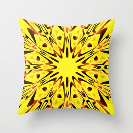 Conceptual abstract yellow flower pattern with sunray bursts forming an ornate center star design Throw Pillow