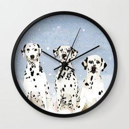 Dalmatians in the Snow Wall Clock