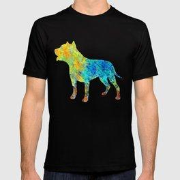 Pit Bull Dog Watercolor Art T-shirt