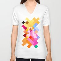 letters V-neck T-shirts featuring Letters - A by Alice Z.