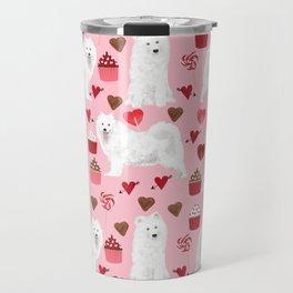 Samoyed valentines day dog portrait cute puppy dogs hearts love valentine for dog person Travel Mug