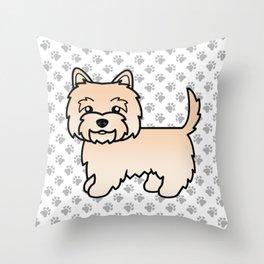Cute Cream Cairn Terrier Dog Cartoon Illustration Throw Pillow