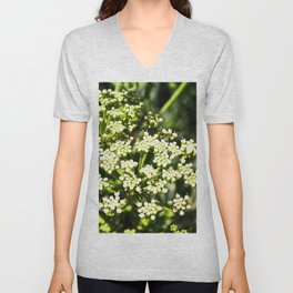 Succulent White and Green Flowers Unisex V-Neck
