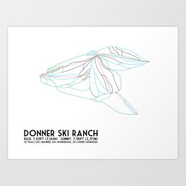 Donner Ski Ranch, CA - Minimalist Trail Map Art Print