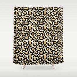 Gold Leopard Print Shower Curtain