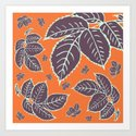 HAPPY LEAVES ON ORANGE (abstract flowers tropical) by absentisdesigns
