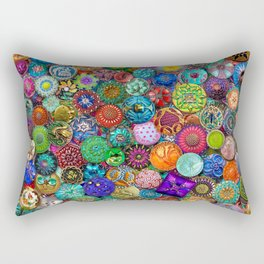 Glass Buttons Rectangular Pillow