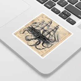 Octopus Kraken attacking Ship Antique Almanac Paper Sticker