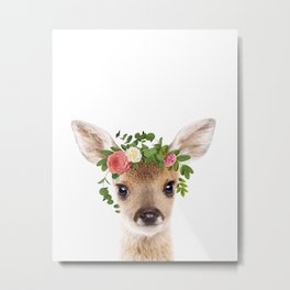 Baby Deer With Flower Crown, Baby Animals Art Print By Synplus Metal Print