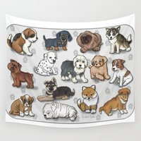 puppies Wall Tapestries featuring Puppies, more than a dozen.  by Michelle Behar