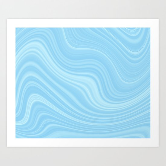 Blue wave abstract. Art Print