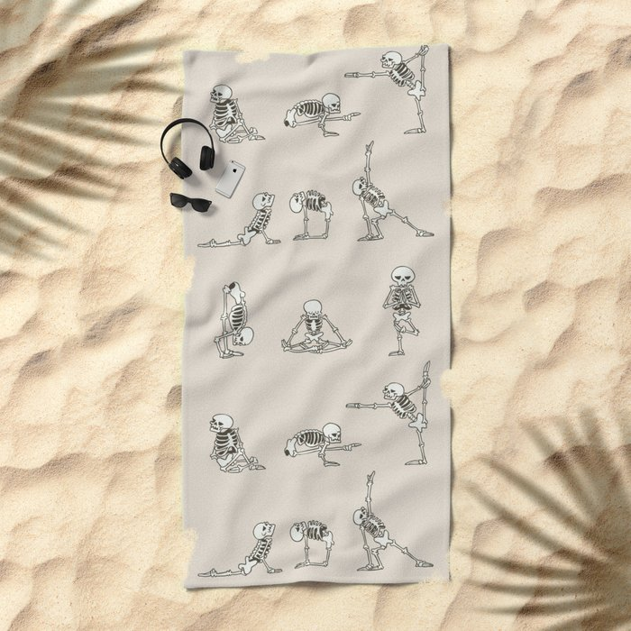 Skeleton Yoga Beach Towel