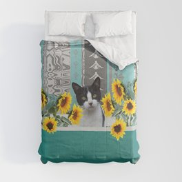 Bathtub with black and white cat - sunflower Comforters