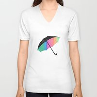 umbrella V-neck T-shirts featuring umbrella by Luna Portnoi