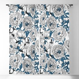 White peonies and blue tit birds Blackout Curtain