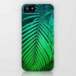 TROPICAL GREEN BLUE LEAVES iPhone Case