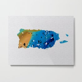 Colorful Art Puerto Rico Map Blue and Brown Metal Print