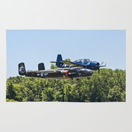 B-24 and Hellcat World War II Aircraft Fly Together at Mosby Missouri Rug