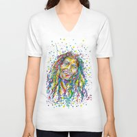 splatter V-neck T-shirts featuring BMarley Splatter by Liam Reading