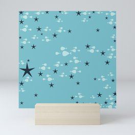 fish and stars blue Mini Art Print
