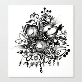 Pen and Ink Drawing --APPLES---Black and white art, wall art Canvas Print